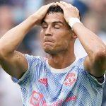 Man Utd striker Cristiano Ronaldo looking disappointed 2021