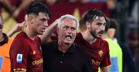 Roma defender Roger Ibanez, manager Jose Mourinho and Matias Vina