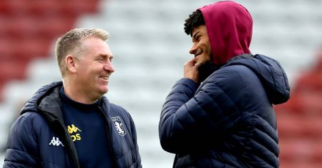 Aston Villa manager Dean Smith (left) speaks to Tyrone Mings prior to the beginning of the Premier League match at St Mary's Southampton.