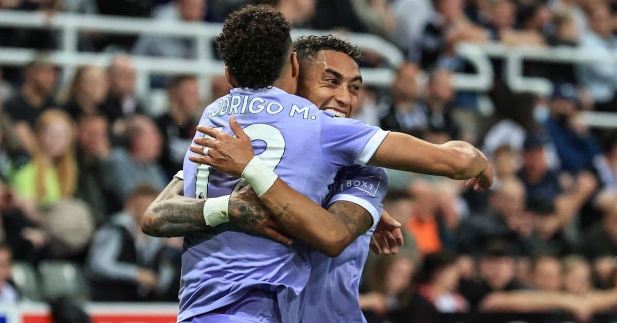 Rodrigo Moreno, Raphinha celebrate goal for Leeds at Newcastle United