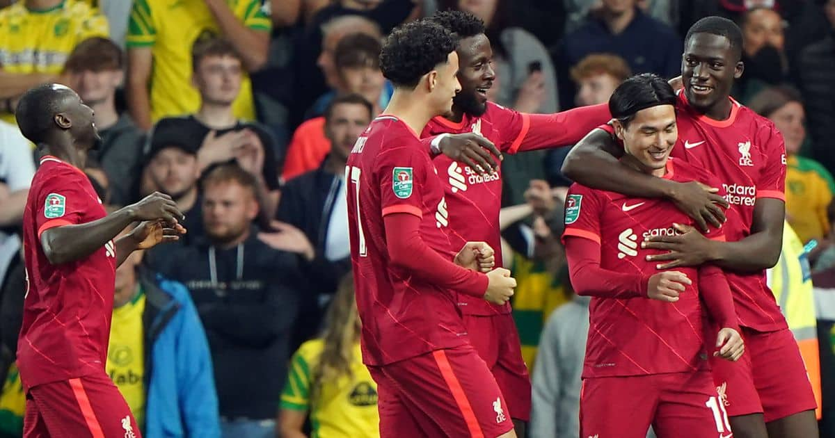 Takumi Minamino celebrates scoring for Liverpool at Norwich in the Carabao Cup