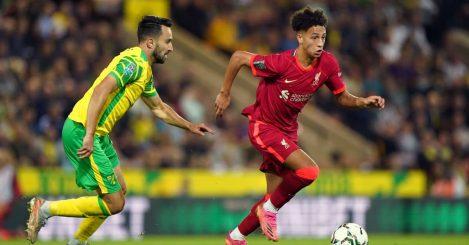 Liverpool's Kaide Gordon against Norwich