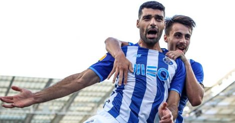 Mehdi Taremi, Fabio Vieira, FC Porto goal celeb at the Estádio do Dragoo