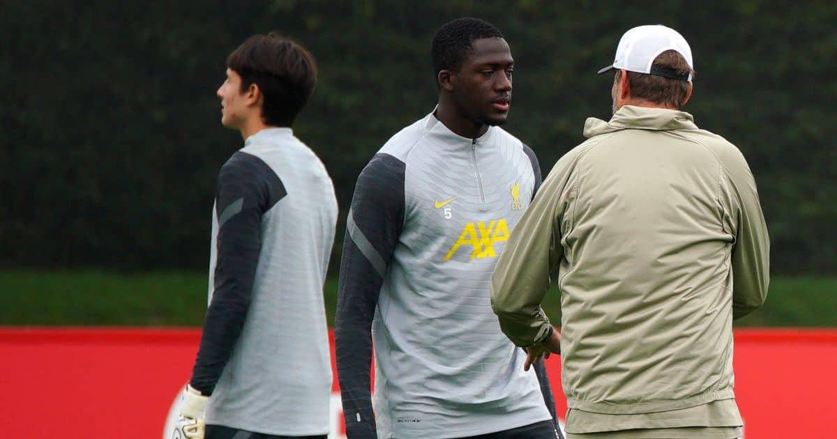 Ibrahima Konate Jurgen Klopp Liverpool training September 2021