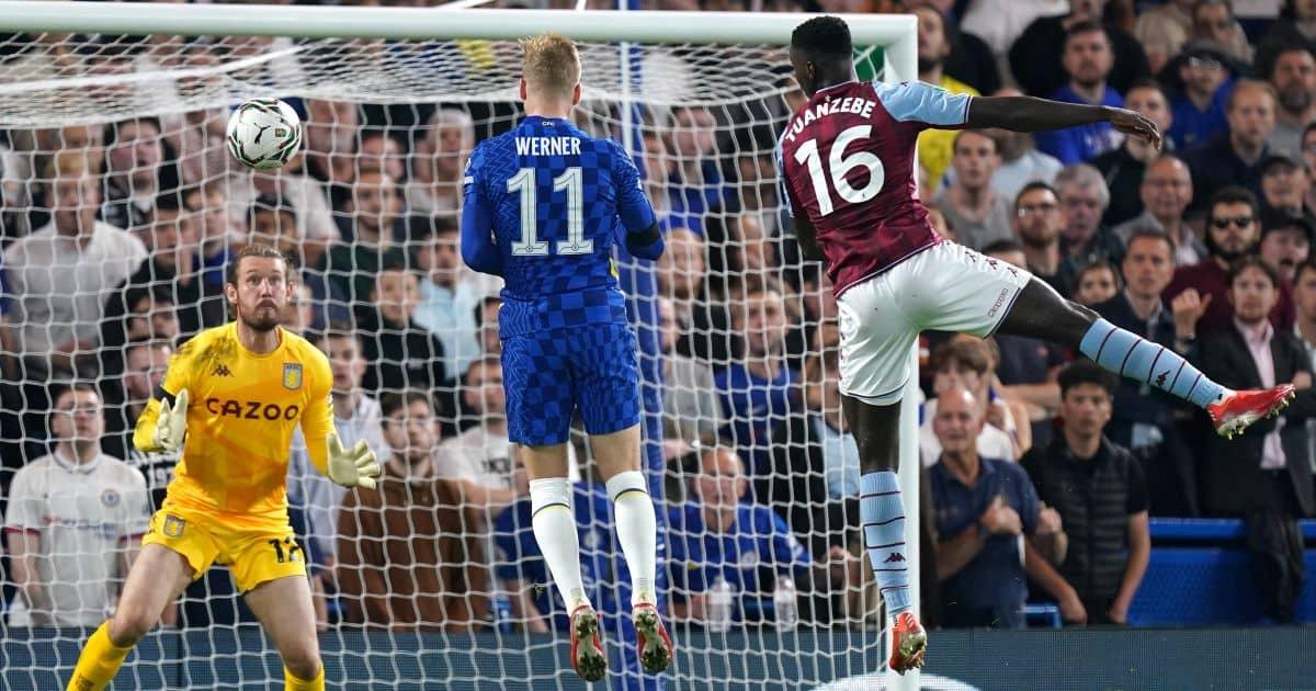 Chelsea striker Timo Werner scoring v Aston Villa 2021