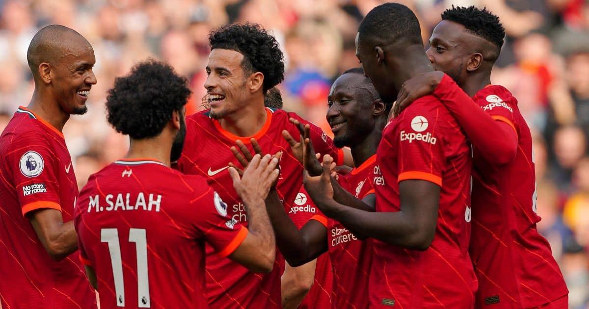 Fabinho, Curtis Jones, Naby Keita, Divock Origi, Liverpool celeb after Premier League goal at Anfield