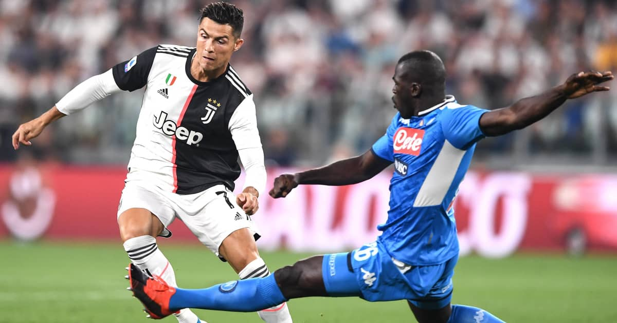 Cristiano Ronaldo being tackled by Kalidou Koulibaly