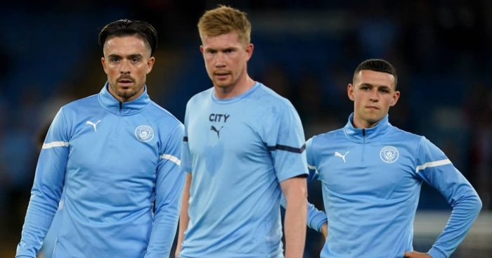 Man City attackers Jack Grealish, Kevin De Bruyne and Phil Foden 2021