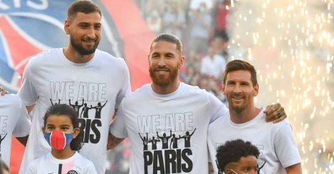 PSG trio Gianluigi Donnarumma, Sergio Ramos and Lionel Messi 2021