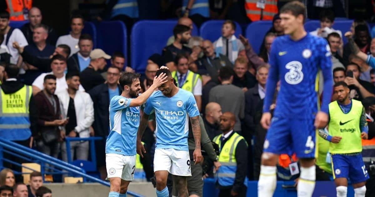 Manchester City players Bernardo Silva and Gabriel Jesus