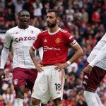 Bruno Fernandes man Utd penalty miss v Aston Villa