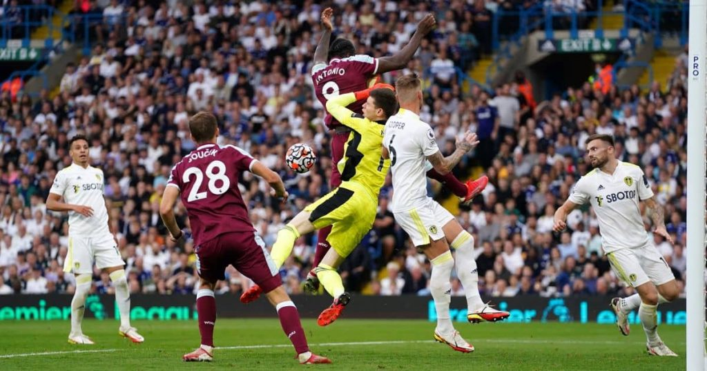 West Ham forward Michail Antonio, Leeds goalkeeper Illan Meslier