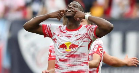 Nordi Mukiele celebrates scoring for Leipzig agaimnst Hertha Berlin