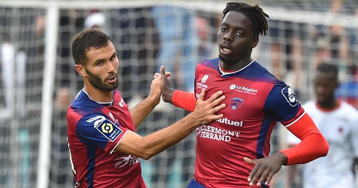 Florent Ogier and Mohamed Bayo celebrate for Clermont