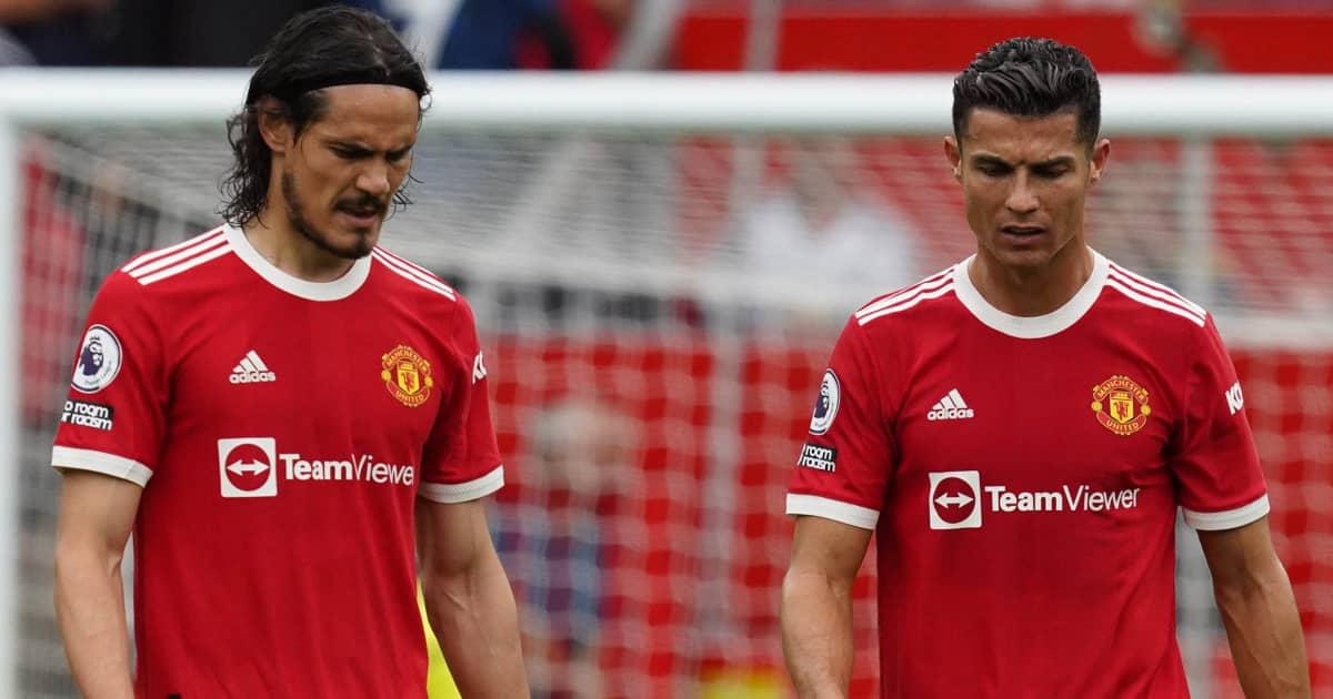 Man Utd strikers Edinson Cavani and Cristiano Ronaldo looking dejected 2021