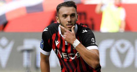 Nice striker Amine Gouiri celebrating after scoring a goal 2021