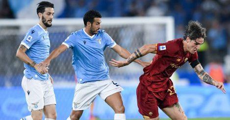 Lazio pair Luis Alberto and Pedro trying to tackle Roma midfielder Nicolo Zaniolo 2021