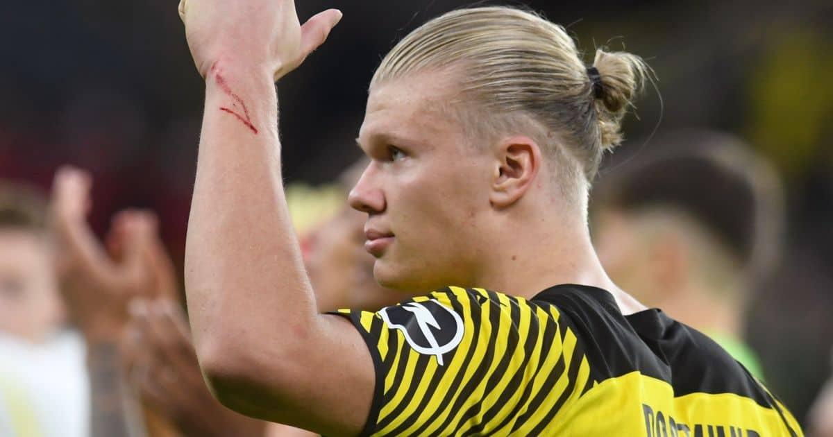 Dortmund's Erling Haaland celebrates the victory over Union Berlin in the Bundesliga