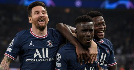 Lionel Messi, Idrissa Gueye celebrate v Man City after goal in Champions League