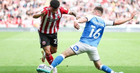 Morgan Gibbs-White in action for Sheffield United, on loan from Wolves, against Peterborough United
