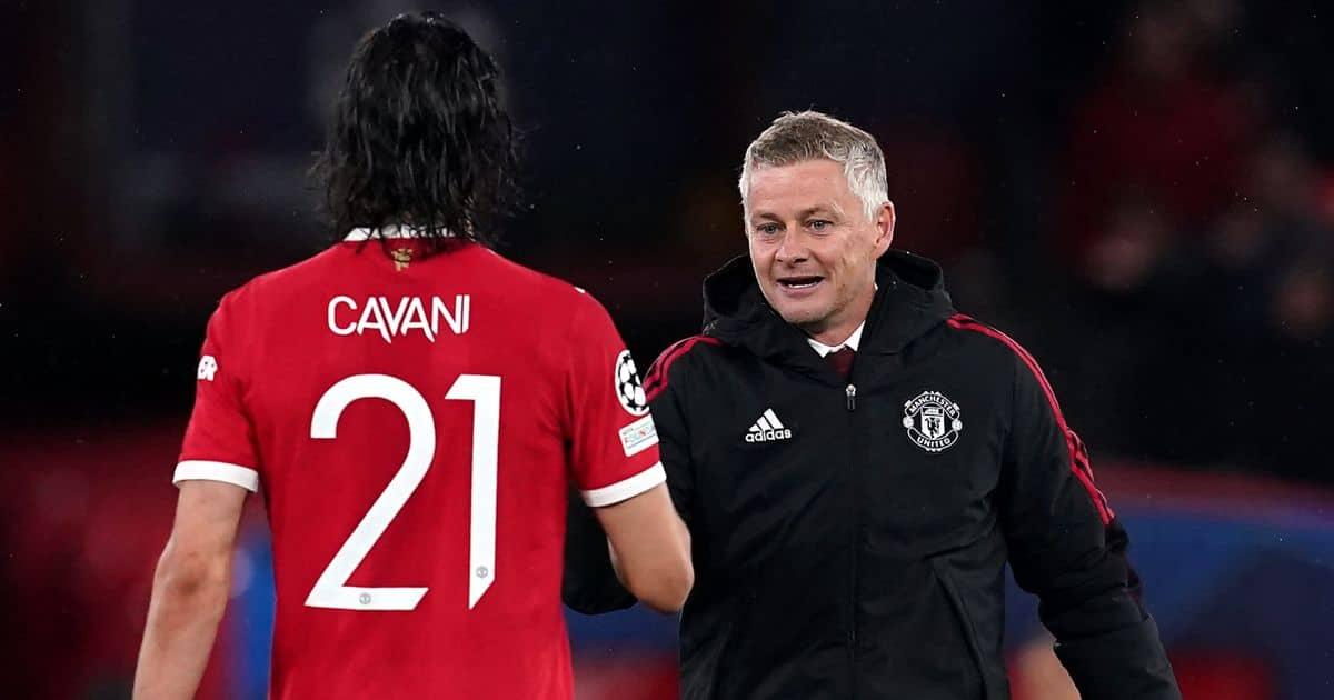 Manchester United manager Ole Gunnar Solskjaer and forward Edinson Cavani
