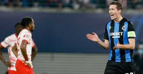 Hans Vanaken in CL action for Brugges against Leipzig