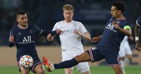 PSG pair Marco Verratti and Marquinhos battling Man City midfielder Kevin De Bruyne 2021