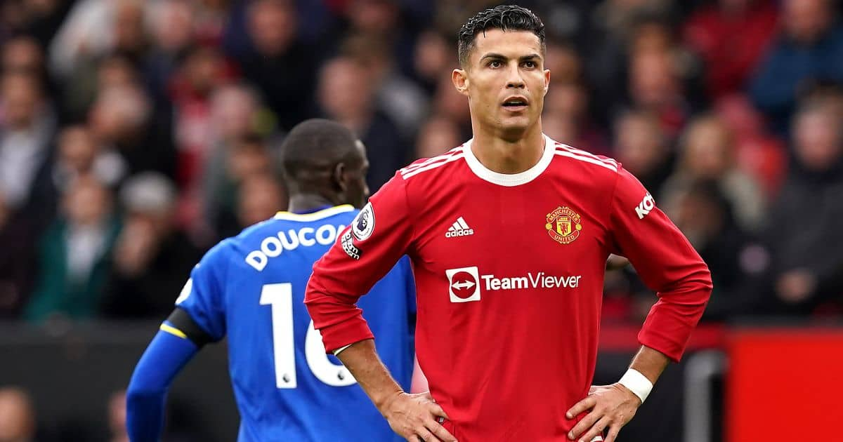 Manchester United's Cristiano Ronaldo (right) looks frustrated during the Premier League match against Everton at Old Trafford, Manchester