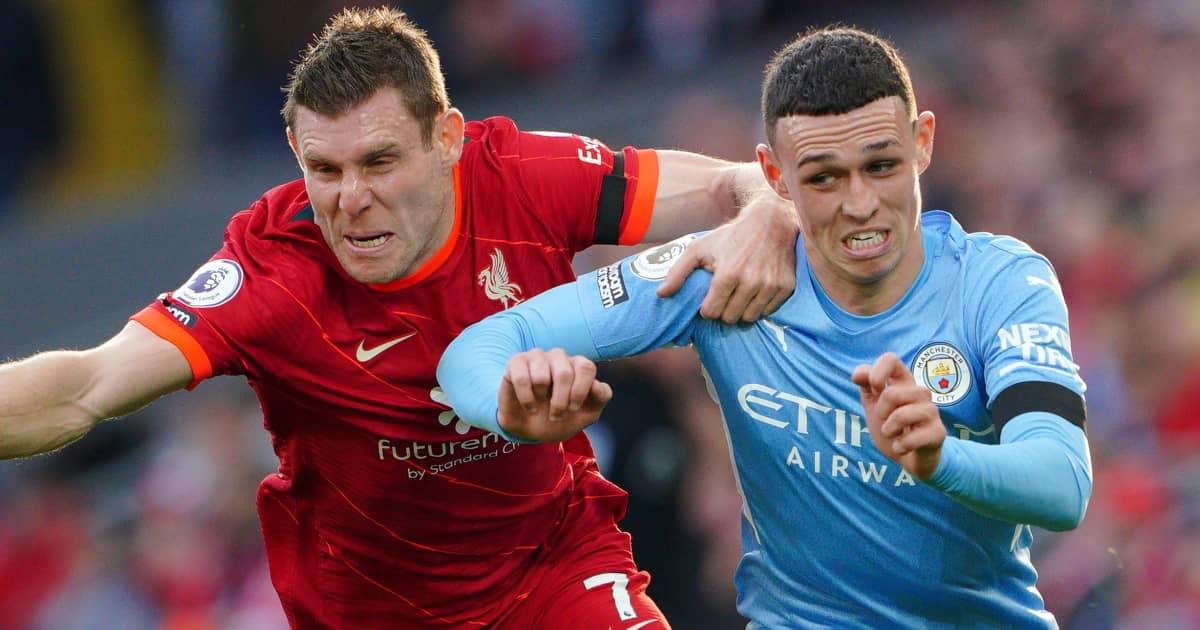 Liverpool midfielder James Milner battling Man City forward Phil Foden 2021