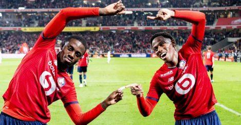 Jonathan David, Amadou Onana Lille celeb after Ligue 1 match v Marseille