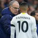 Leeds United manager Marcelo Bielsa speaks with Raphinha on the touchline during the Premier League match against Watford at Elland Road