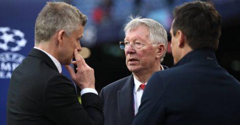 Sir Alex Ferguson looking at Man Utd manager Ole Gunnar Solskjaer