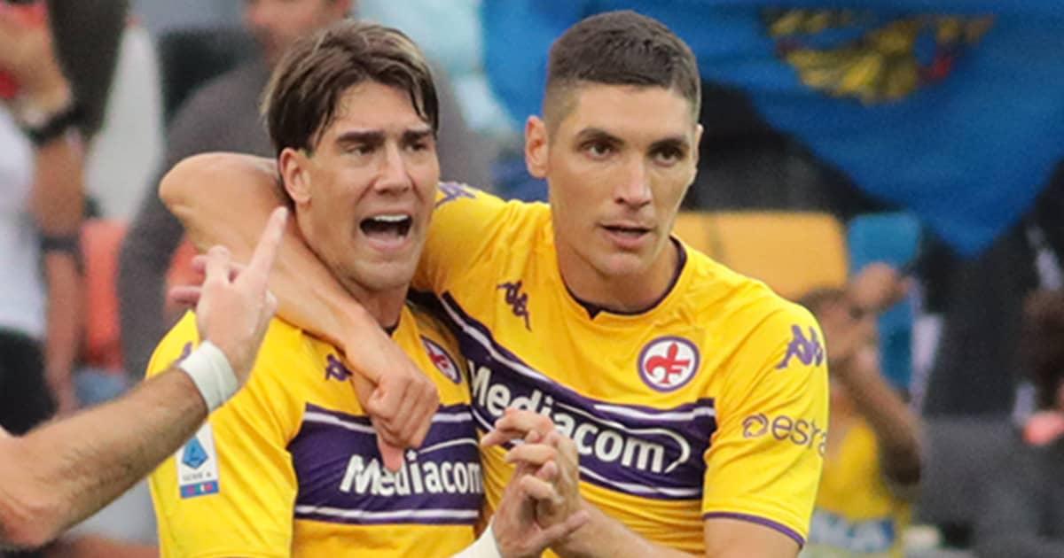 Dusan Vlahovic, Nikola Milenkovic, Fiorentina celebrations after Serie A goal at Udinese