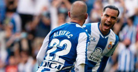 Alex Vidal, Raul de Tomas Espanyol celebrate a goal against Real Madrid in LaLiga