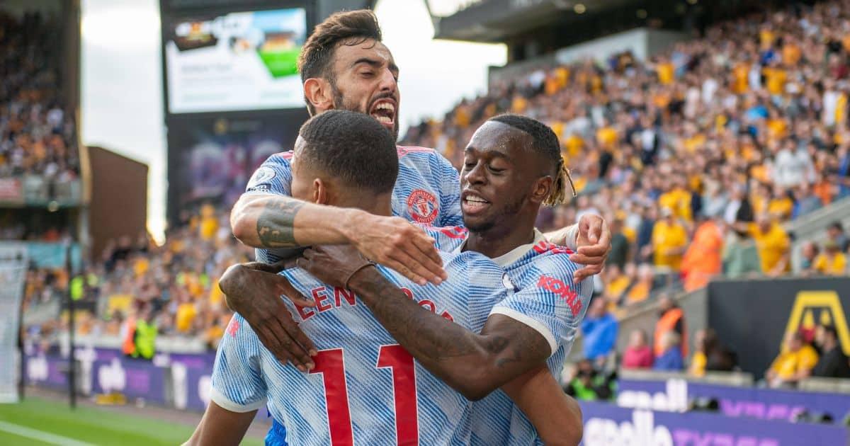 Aaron Wan-Bissaka, Mason Greenwood, Bruno Fernandes Wolves v Man Utd August 2021