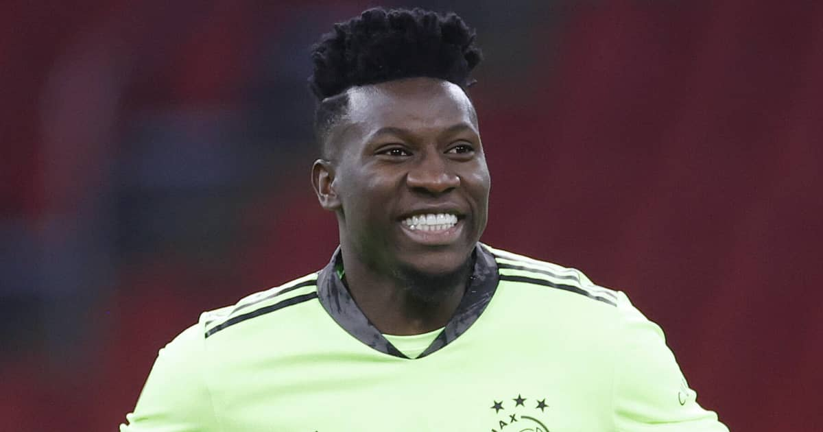 Ajax goalkeeper Andre Onana smiling during a league match 2021