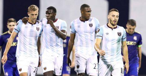 West Ham players Tomas Soucek, Kurt Zouma, Issa Diop and Nikola Vlasic