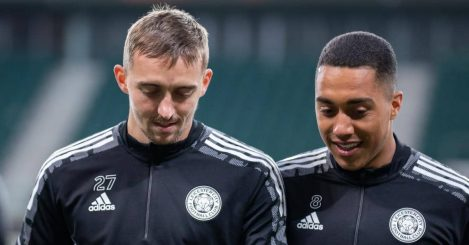 Leicester City players Timothy Castagne and Youri Tielemans training in Poland