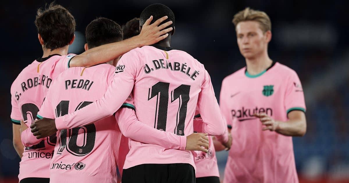 Sergi Roberto, Pedri, Ousmane Dembele, Frenkie de Jong, Barcelona celebrate La Liga goal