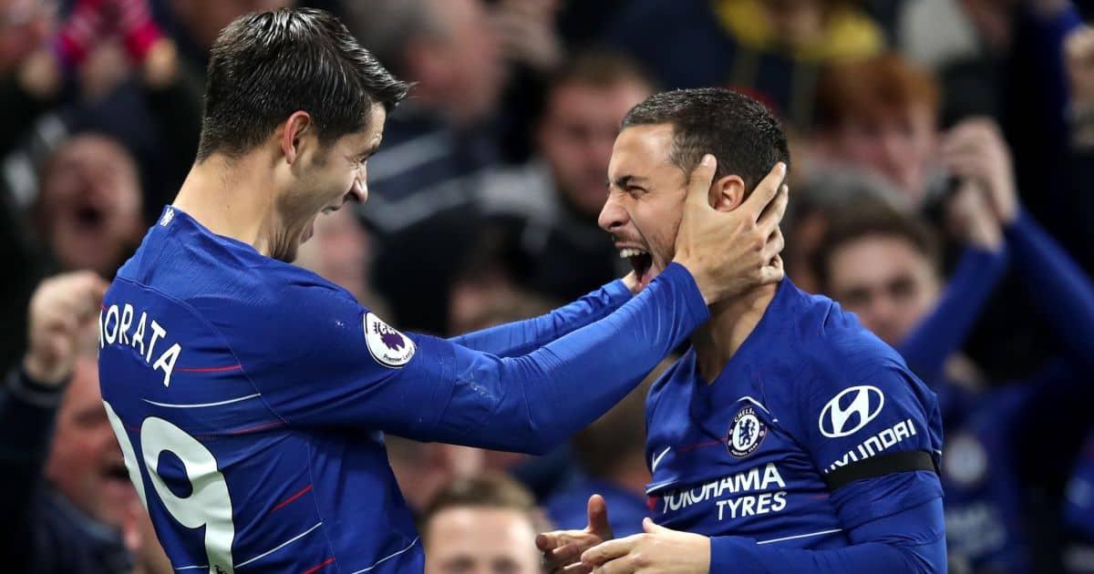 Alvaro Morata, Eden Hazard Chelsea celebration after Premier League goal