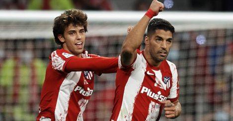 Atletico Madrid forward Joao Felix celebrating after Luis Suarez scored a La Liga goal in October, 2021