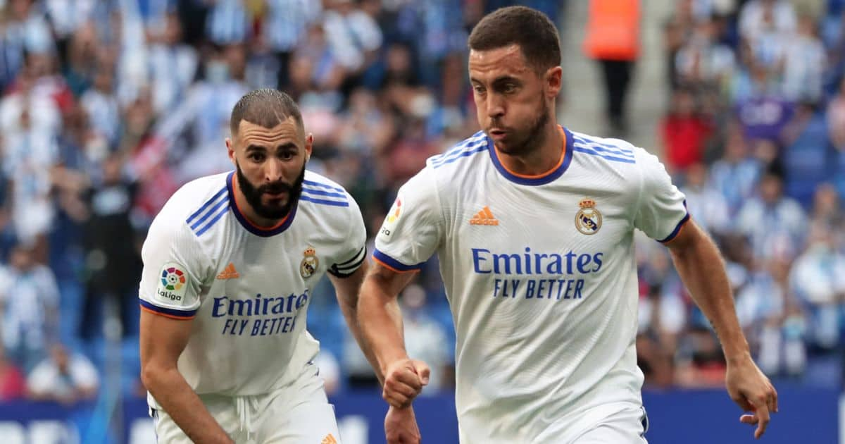 Eden Hazard running with Karim Benzema behind
