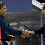 Julen Lopetegui shakes hands with Frank Lampard