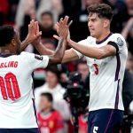 John Stones celebrates scoring for England against Hungary at Wembley