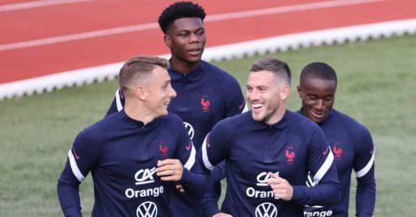 Monaco midfielder Aurelien Tchouameni jogging during training with France 2021