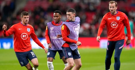 England quartet Mason Mount, Raheem Sterling, Phil Foden and Harry Kane during training 2021