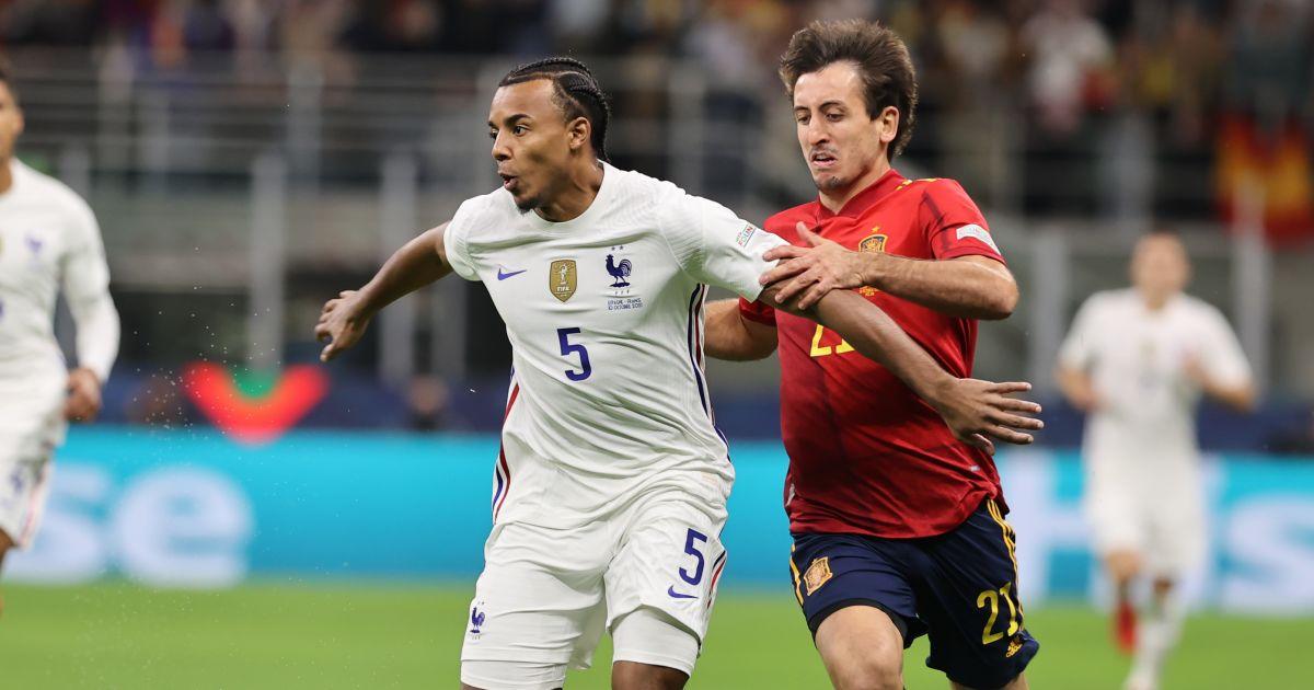 Jules Kounde Mikel Oyarzabal France v Spain October 2021