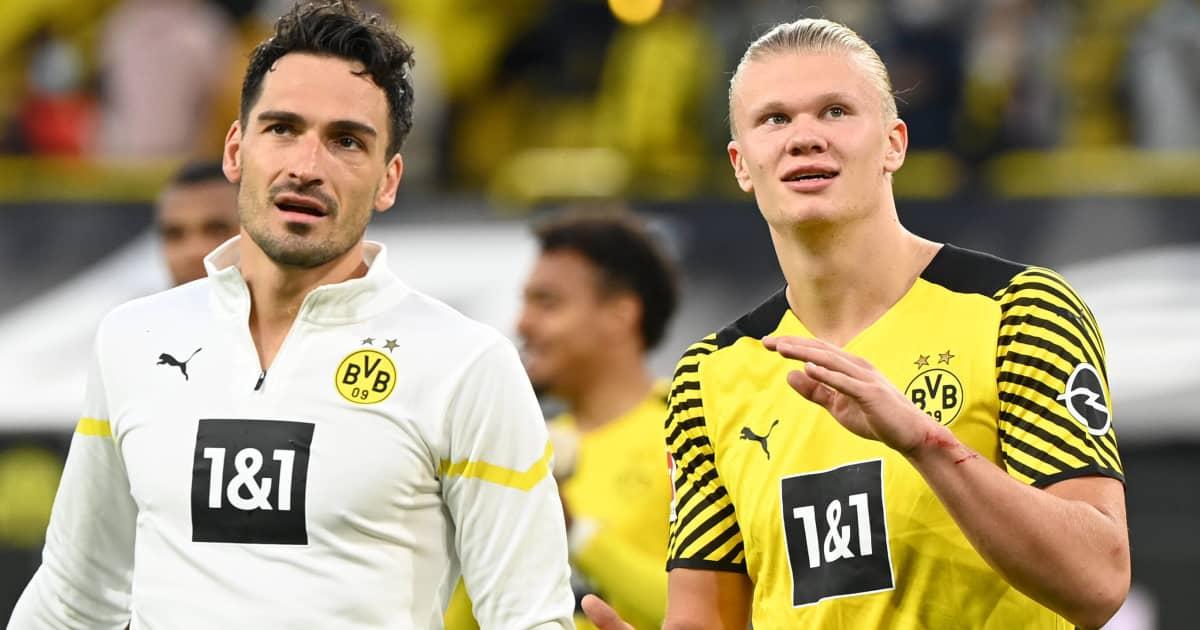 Borussia Dortmund teammates Mats Hummels and Erling Haaland 2021