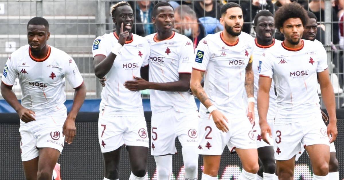 Pape Sarr Metz celebrate a goal Ligue 1