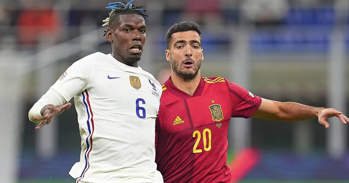 Paul Pogba battles with Mikel Merino during the Nations League 2021 final of France vs Spain
